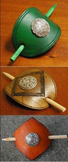 handmade+leather+celtic+jewelry | celtic leather barrettes sku 061464 our celtic leather barrettes are ...:
