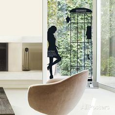 Parisian Woman Silhouette Phonebooth Wall Decal at AllPosters.com