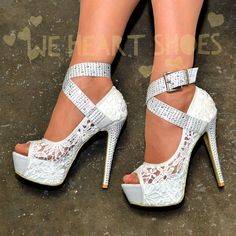86d5f6ce26fd0d Womens Platform Shoes White Evening Lace Buckle Strap High heels Pumps Uk  size Platform High Heels