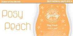 February's Scent of the Month. Posy Peach!! If you like peaches you're going to love this scent :) Find it here https://shellyosbornanthony.scentsy.us/Scentsy/Buy/ProductDetails/SB-PSP or message me to order.