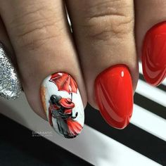 best manicure ideas for the fall. Get your fingers ready and get inspired by all these ridiculously cool fall nail designs, shades, and prints from the runway. Fancy Nails, Red Nails, Cute Nails, Pretty Nails, Fall Nail Art Designs, Nail Polish Designs, Autumn Nails, Winter Nails, Uñas Fashion
