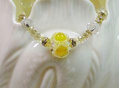 Beaded Bead Crystal Yellow Bracelet by joellenflaherty on Etsy, $20.00