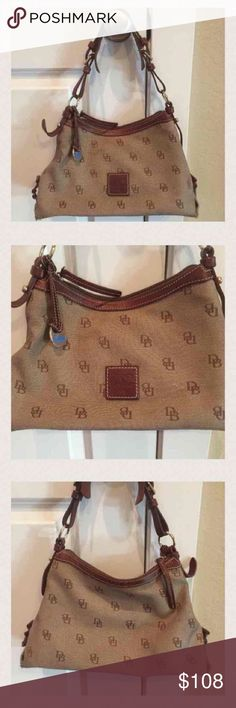 "Dooney & Bourke Tan Leather Handbag Super cute and like new Dooney & Bourke handbag! Measures 13"" wide and 8.5"" tall! Strap drop is 8"" and adjustable!! I paid over $250!! Checkout my closet too!! Dooney & Bourke Bags Shoulder Bags"