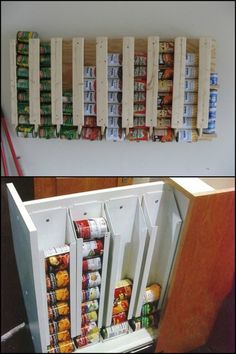 to build a simple canned food dispenser First in, first out! This is an awesome canned food storage system!First in, first out! This is an awesome canned food storage system! Canned Good Storage, Can Storage, Camper Storage, Pantry Storage, Hidden Storage, Kitchen Organization, Kitchen Storage, Caravan Storage Ideas, Caravan Ideas
