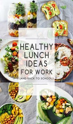 Healthy Lunch Ideas For Work (And Back To School)! Easy lunch recipes that are healthy, easy to pack up and take on-the-go! Vegetarian, gluten-free, and vegan options included.