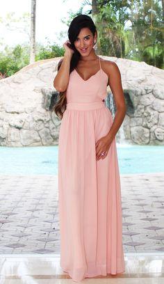 1c70022cb08 Open Back Maxi Dress - Blush
