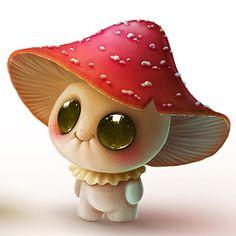Cute Fantasy Creatures, Cute Creatures, Mythical Creatures, Cute Animal Drawings Kawaii, Kawaii Drawings, Cute Drawings, Cute Illustration, Character Illustration, Mushroom Art
