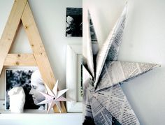 Our Christmas Inspiration 2011 Inspiration Wall, Christmas Inspiration, Folded Paper Stars, Furniture Projects, Diy Projects, Newspaper Crafts, Christmas Wonderland, Old Magazines, Nordic Design