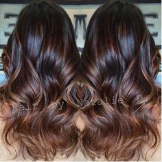 Resultado de imagem para light brown balayage on dark hair Balayage Highlights, Hair Color Balayage, Brown Balayage, Copper Balayage, Caramel Balayage, Auburn Balayage, Haircolor, Asian Balayage, Balayage Hairstyle
