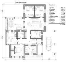 планировка одноэтажного дома в американском стиле райт с тремя спальнями