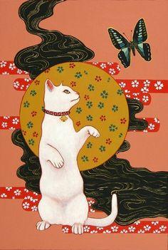 Ukiyo-e Ninja Cat illustrations -- Tanaka Art And Illustration, Illustrations, Asian Cat, Japanese Cat, Kinds Of Cats, Hippie Art, Japan Art, Cat Drawing, Cat Art