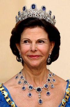 Escanda♔ Queen Silvia of Sweden wearing the Leuctenberg Sapphire Parure