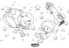 Stoere kleurplaat! Chloe en Jet zijn in de ruimte. #kleurplaat #kleuren #knutselen #gratis #download #chloestoverkast