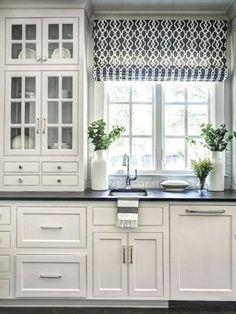 Kitchen Sink Window, Kitchen Curtains, Kitchen Sinks, Window Curtains, Kitchen Island, Refacing Kitchen Cabinets, White Kitchen Cabinets, Kitchen White, Kitchen Small