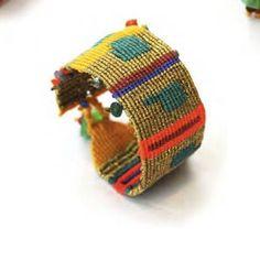 Macrame Cuff Bracelet, friendship bracelet, bead macrame bracelet, boho macrame, gold bracelet, semi precious stone bracelet, boho jewelry by MardijewelryStore on Etsy