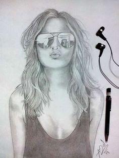 """Sunglasses Girl Portrait"" #Creative #Art in #sketching @Touchtalent http://bit.ly/Touchtalent-p"