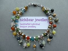 RAINBOW  Indian Agate & Crystal glass charm by NickibearJewellery, £14.99