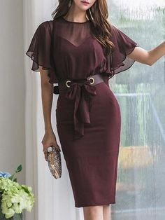 Patchwork Belted Falbala High Waist Bodycon Dress - This bodycon dress is perfect for a party, featuring belt, falbala and high waist, team with a pair - Bodycon Prom Dresses, Bodycon Dress With Sleeves, Bodycon Dress Parties, Homecoming Dresses, Dresses With Sleeves, Cute Dresses, Casual Dresses, Elegant Dresses, Formal Dresses