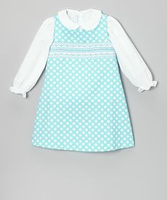 White Blouse & Turquoise Smocked Jumper - Infant & Toddler | Daily deals for moms, babies and kids...so  cute for school age girl