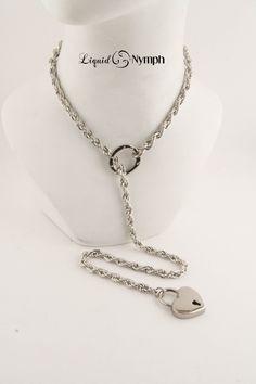 Choke Intricate Chain - Day Collar Bondage Choker Chain BDSM Day Collar Chain - Crystals Choker Chain - Locking Chain & Heart Lock Pendants