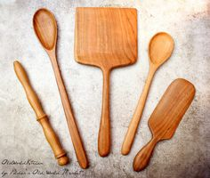 "This is a set of {FIVE} handcrafted Wooden Kitchen Utensils, discounted 10% from the list prices of the individual pieces. This lovely gift set includes (left to right) one of our Traditional Turned Scottish Spurtles (11.5""), our Ultimate Cooking Spoon (15""L), our Enormous Chef's Spatula (13""L), our Little Starter Spoon (12""L) and our Mary Spurtle (9.5""L). It's the perfect wooden spoon set to give as a wedding gift or housewarming present!"