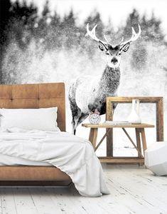 Vlies fotobehang Edelhert - Landschappen behang | Muurmode.nl Home Bedroom, Master Bedroom, Bedroom Decor, Bedroom Black, Scandinavian Living, Cozy Place, New Room, Cozy House, Wall Design