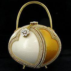 ostrich egg purse   Handmade Ostrich Egg Handbag Evening Bag Purse : Lot 2608