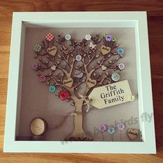 Family tree picture, in a white 9x9 inch frame with a wooden tree with a personalised heart for each family member set against a lovely neutral background with button flowers and a small Log pile at the bottom of the frame. Each picture is handmade to order and completely unique, no two trees are made the same so the button and flower colours on the tree may vary slightly, but will be simular to the photos shown. The pictures are completely 3d and all the buttons and details are hand…
