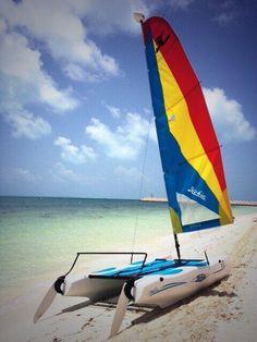 Enjoy our non motorized water sport activities! #sail #hobiecat #cancun #playamujeres #mexmonday
