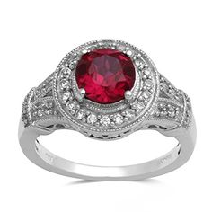 Created Ruby & Created White Sapphire Sterling Silver Ring