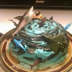 Sharknado cake Shark Birthday Cakes, Birthday Party Snacks, Party Desserts, Party Cakes, Happy Birthday Baby, Birthday Fun, Backyard Movie Nights, Holiday Snacks, Shark Party