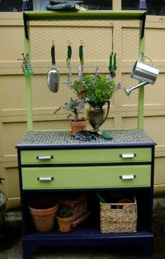 A dresser gives you plenty of storage for your gardening tools. Remove a drawer or two to create shelves for your pots and potting soil. You can even tile the top to make it more durable. Of course, it would be better to keep it in a garage or a covered porch, but if youd like to keep it outside, simply paint it with exterior paint for maximum durability... Work stations for students?