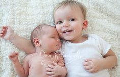 newborn baby and older sibling, newborn sibling photography idea