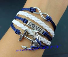 Infinity & love anchor bracelet wax rope navy and by eternalDIY, $7.99