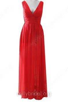 Red Chiffon Split Front V-neck and V-back Noble Long Prom Dresses