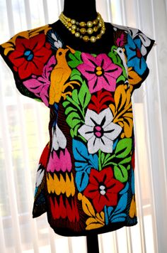 Vibrant Mexican Hand Embroidered Blouse / Huipil / Tunic from Oaxaca, Mexico