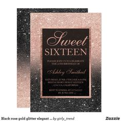 Shop Faux black glitter gold elegant chic Sweet 15 Invitation created by girly_trend. Personalize it with photos & text or purchase as is! Rose Gold Glitter, Black Glitter, Glitter Walls, Glitter Uggs, Glitter Letters, Glitter Hair, Glitter Fabric, Glitter Makeup, Glitter Eyeshadow