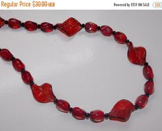 CLEARANCE 40%OFF Red Leaf Necklace by EriniJewel on Etsy