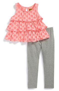 Nicole Miller Ruffle Tunic & Leggings (Baby Girls) | Nordstrom