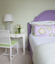 Orchid upholstered headboard and lime green bedroom #coachbarn #design #2014coloroftheyear #purple
