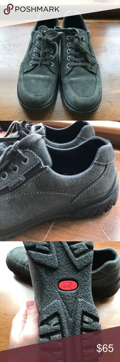 Ara brand Gore-Tex grey suede lace up shoes. This brand (Ara) is foreign so the size on the shoe is 6 1/2 but I wear size 8 in all other footwear so these will not fit a US size 6 1/2. They are Gore-Tex and have treads on the bottom for walking in wet conditions. I just don't need them, bought them for $100 which was half off the original price. Wore them to work indoors twice so they are next to new. Ara Shoes Athletic Shoes