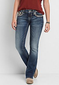 Vigoss® bootcut jeans with frayed sequin pockets - alternate image