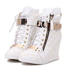 High Heel Shoes For Women | WHITE WOMENS WEDGE HIGH HEEL SNEAKER ...