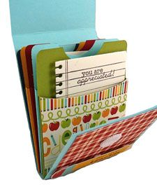 hers was used for a teacher's gift filled with gift cards but, this would make a really cute accordion mini:  library pockets with a half circle punched in the top and then adhered to the next pocket (see post for photo of fold-over cover)