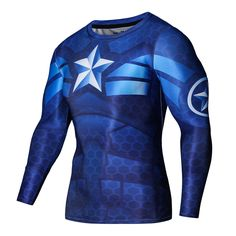 Men Marvel Captain America Long Sleeve Compression T-shirt Cosplay Fitness Tops