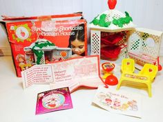 Vintage Strawberry Shortcake Garden House Gazebo ALL Accessories in BOX 1980's #Kenner