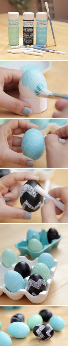 Chalkboard eggs with Martha Stewart Crafts paint.