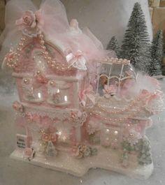shabby hp pink victorian christmas  village restuarant house  chic roses glitter