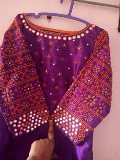 Pretty pretty Hand Embroidery Dress, Embroidery Neck Designs, Dress Neck Designs, Blouse Designs, Mirror Work Saree Blouse, Kutch Work Designs, Balochi Dress, Salwar Designs, Clothes Crafts