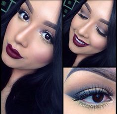 simple but bold with gold eye liner and maroon lip color